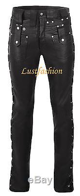 DESIGNER leather pants black mens leather trousers lacing new Lederhose schwarz