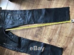 DIESEL Black 17.5Cm Multi Zip Leather Trousers Pants Biker Jeans W30 Gold Style