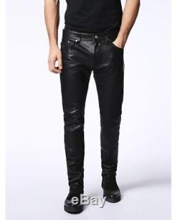 DIESEL Black P-Thavar-L Leather Trousers Sizes W28 W34