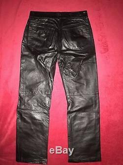 DIESEL Men's BLACK LEATHER PANTS size 30