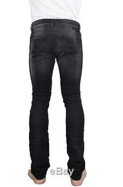 DIESEL Men's Slim Skinny Stretch Thavar Black Denim 856S Sweat Jogg Jeans Pants