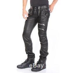 DIESEL Mens P-ZIPPS PANTALONI Black Leather Trousers 00SC5T-0PADA-900 Size 33