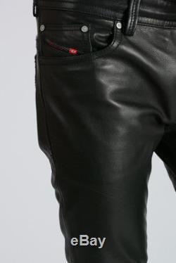 DIESEL New Man Black Leather Five Pockets P-THAVAR-L Pants Trousers NWT Original