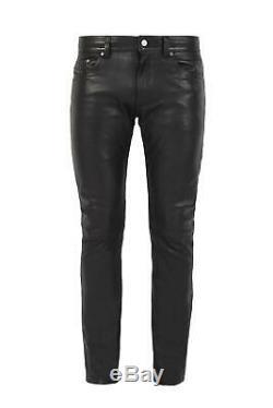 DIESEL P THAVAR 0HAIQ Mens Leather Trouser Black Biker Pants Slim Fit Skinny