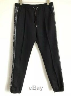 DIOR HOMME Black Tape Logo Wool Trousers Size 50 Fits W32