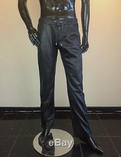 DOLCE & GABBANA Men's Black Leather Track Pants with Drawstring Waist GORGEOUS