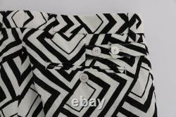 DOLCE & GABBANA Pants White Black Striped Linen Casual s. IT48 / W34 RRP $980