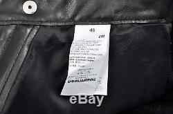 DSQUARED2 Auth New Iconic Black Leather Biker Motorcycle Pants Size 46 48 50