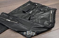 DSQUARED2 Auth New Iconic Black Leather Biker Motorcycle Pants Size 46 50