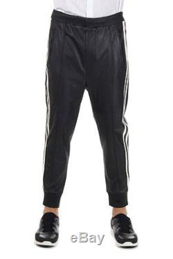 DSQUARED2 Dsquared² Men black Elastic waisted leather Trousers Made in Italy