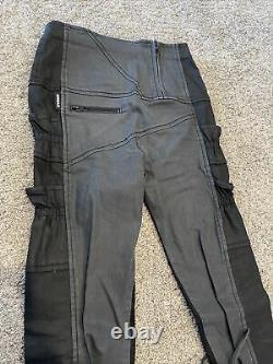 Demobaza Jean Leggings Gray/Black Pockets Straps Asymmetrical Ankle Women's M
