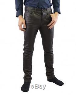 Diesel Black Gold Leralux Men's Leather trousers dark brown 74Q original new