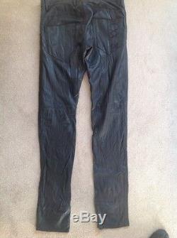 Diesel Black Gold Men's Black Leather Pants / Trousers Size 32