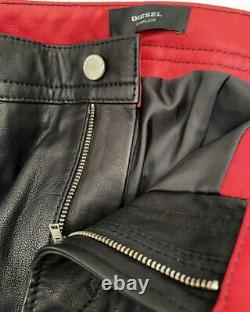 Diesel Black Leather Biker Pants Trousers size 31/32 New