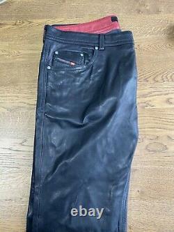 Diesel Black Leather Trousers 38