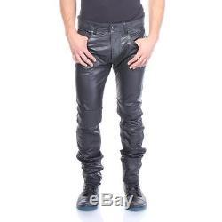 Diesel Leather Pants P-Thavar-Dest Black Men New