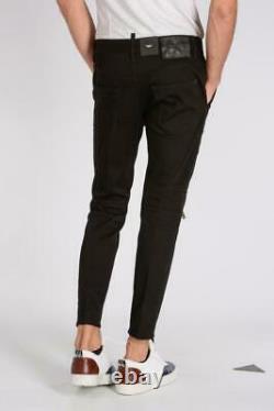 Dsquared2 Black Leather Biker Pants Trousers IT54 XL New Jeans