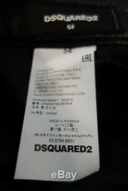 Dsquared2 Black Leather Moto Mens Pants Size 54