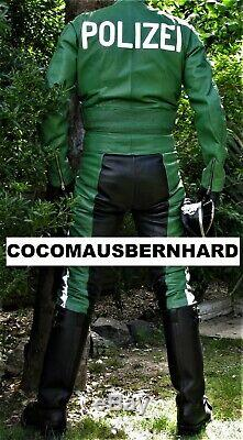 Ex Police Polizei 2 Two Piece Leather Suit Uniform Breeches Trousers Bluf Rob