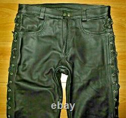 Expectations London Premier Side Laced Leather Jeans 36W New Heavy Leather Gay