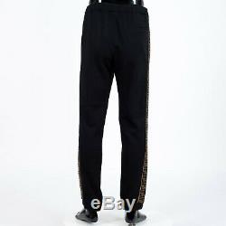 FENDI 1190$ Jogging Pants With FF Logo Stripe In Black Silk, Wool & Cashmere