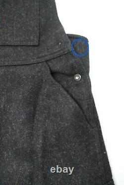 Filson Mackinaw Wool Bibs Sz-34 Unhemmed Charcoal Color Overalls