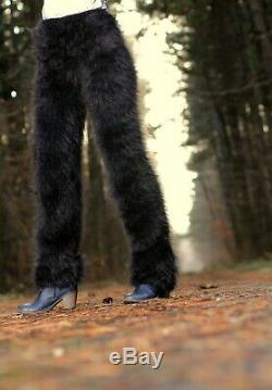 Fuzzy black mohair pants wool trousers fluffy leggings hand knit SUPERTANYA SALE