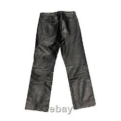 GAP Boot fit Leather Pants Black Vintage Men's Size 32 x 30 Motorcycle Biker
