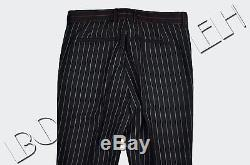 GIVENCHY 1000$ Authentic New Black Wool Slimfit Red & Charcoal Pinstripe Pants