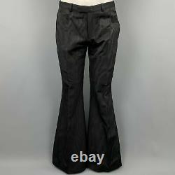 GUCCI by TOM FORD 2001 Size 32 Black Jacquard Zip Fly Wide Leg Dress Pants