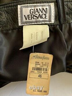 Gianni Versace Collection Black Leather Pants Lined Size 46