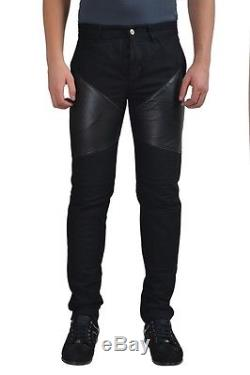 Givenchy Men's Black Leather Trimmed Casual Pants US 30 IT 46