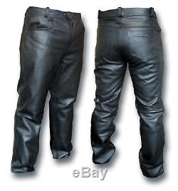 Gth Black Leather Motorcycle Biker Jeans, Fully Lined 54016