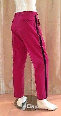 HELMUT LANG Men's Fuchsia Wool/Silk-Blend Dress Pants with Black Side Stripe- RARE
