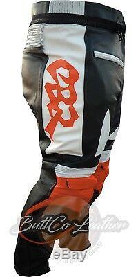 HONDA CBR Orange Black Cowhide Motorcycle Biker Armour REAL Leather Pant Trouser
