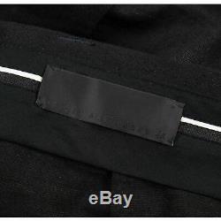 Haider Ackermann Black Gold Linen Mohair Grosgrain Side Stripe Pants 34W