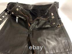 Hein Gericke Mens UK 32 Black Leather Motorcycle Biker Riding Pants Lined & Belt