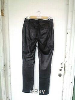 Helmut Lang Jeans Archive 1997 Black Leather Pants Made In Italy Sz 31 Biker