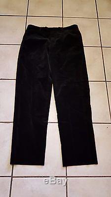 Hermes Black Cotton Corduroy Flat Front Dress or Casual Pants 34/31
