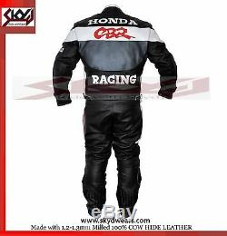 Honda CBR Gray/Black Racing Leather Motorcycle suit Jacket/trouser All Sizes