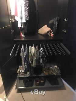 Ikea Pax Black / Brown Large Custom mens Wardrobe With Shoe & Trouser Rail