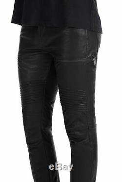 J Brand Men's Leather Pants Stretch Acrux Moto Slim Fit Black Skinny 33 $1600+