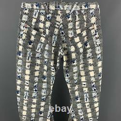 JOHN GALLIANO Size US 32 / IT 48 Black & Blue Print Cotton Curved Leg Pants