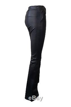 Jean-claude Jitrois Vintage Black Leather Flared Trousers (xs)