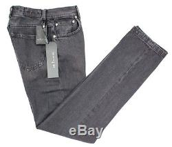 KITON Button-Fly Classic Five Pocket Stonewashed Black Denim Jeans 30 NWT $695