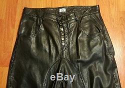 LAMARQUE collection black leather drop crotch pants