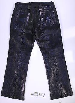 LORDS Los Angeles Handmade Black Python Snakeskin Jeans Pants 32