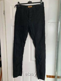 Layer 0 artisanal handmade size 46 Black Linen mens slim trousers