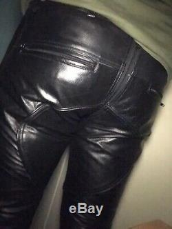 Leather Trousers Full Zip Front To Rear 2 Way Jeans Pants 34 Fetish