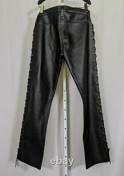 Leatherman NYC Heavy Duty Lace-up Black Leather Pants 33 Waist